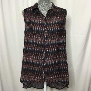 H & M Black Red Aztec Shirt Women 12 Button Front